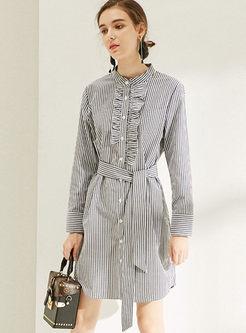 Casual Long Sleeve Striped Waist A Line Dress