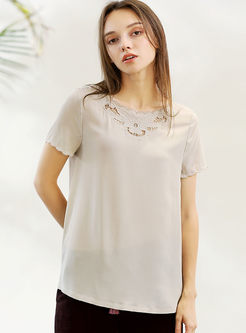 Solid Color Short Sleeve Hollow Out T-shirt