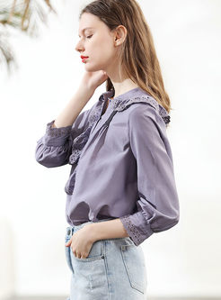 Casual Lapel Hollow Out Solid Color Blouse