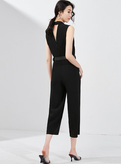 Elegant Notched Sleeveless Belted Jumpsuit