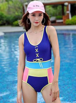Stylish Color-blocked Tied One Piece Swimwear