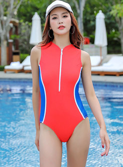 Color-blocked Hollow Out Zipper One Piece Swimwear