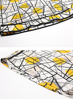 Casual Print Bat Sleeve O-neck T-shirt
