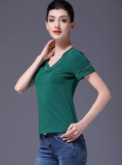 Casual V-neck Pullover Slim T-shirt