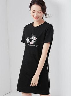 Casual Print Splicing O-neck T-shirt Dress