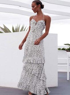 Sexy Halter Backless Print Beach Maxi Dress