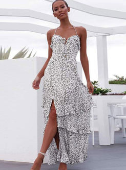 Sexy Halter Backless Print Beach Maxi Dress
