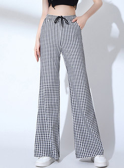 Stylish Plaid All-matched Slim Flare Pants