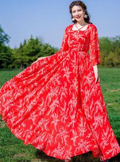Floral Print Slim Chiffon Big Hem Maxi Dress