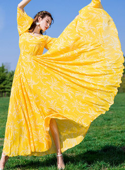 Square Neck Print Slim Chiffon Big Hem Maxi Dress