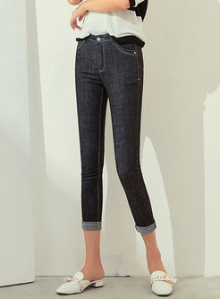 Brief Casual Denim Daily Pencil Pants