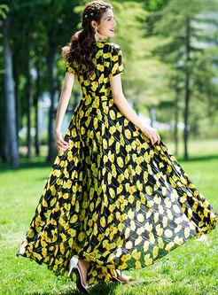 Casual Print O-neck Big Hem Beach Maxi Dress