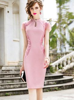 Vintage Mandarin Collar Mesh Embroidered Dress
