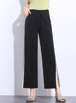 Casual Summer Split High Waist Tied Straight Pants