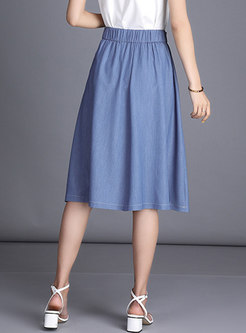 High Waist Denim Blue A Line Skirt