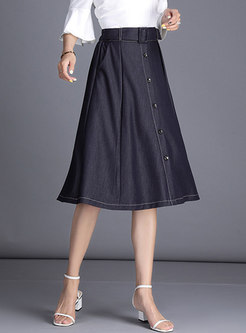 High Waist Denim Blue All-matched Skirt
