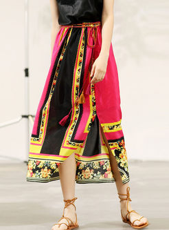 Retro High Waist Silk Print Slit Skirt