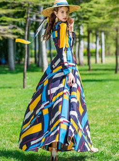 Bohemian V-neck Long Sleeve Geometric Print Dress