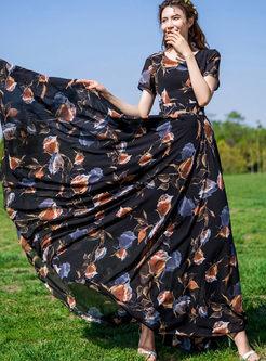Bohemian O-neck Print Big Hem Chiffon Dress
