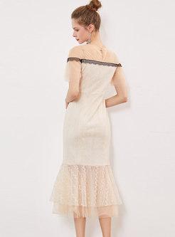 Elegant Lace Splicing O-neck Mermaid Dress