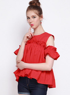 Pure Color Off Shoulder Falbala Blouse