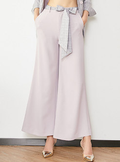 Bowknot High Waisted Wide Leg Pants