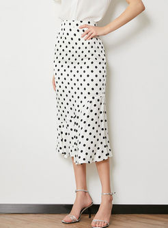 Retro High Waist Polka Dot Print Skirt
