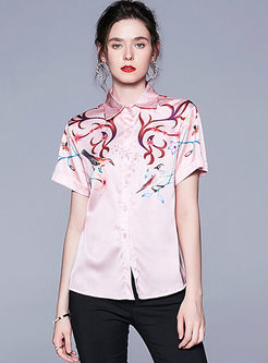 Lapel Short Sleeve Print Single-breasted Blouse