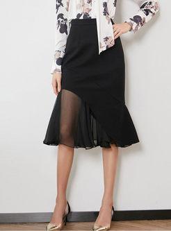 Stylish Perspective Mesh Splicing Mermaid Skirt