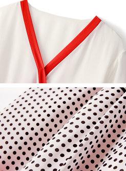 V-neck Tied Irregular Top & Color-blocked Split Pants