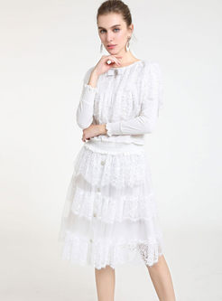 O-neck Lace Falbala Top & High Waist Skirt