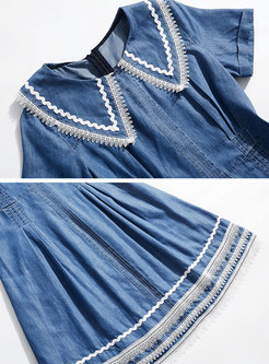 Denim Turn Down Collar High Waist Skater Dress