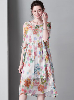 Print Half Sleeve High Waist Skater Dress With Cami