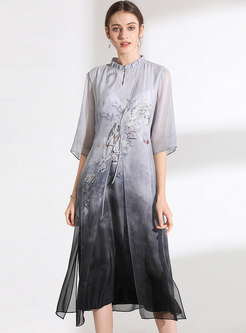 Elegant Stand Collar Print Splicing A Line Dress