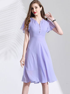 Sweet V-neck Ruffled Sleeve Slim Skater Dress