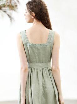 Vintage Embroidered Square Neck Tied Skater Dress