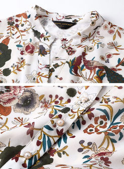 Three Quarters Sleeve Print Elastic Waist A Line Dress