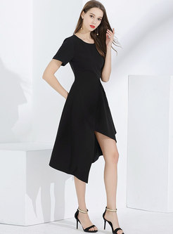 Asymmetric O-neck Gathered Waist Skater Dress