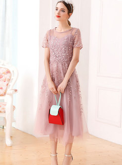 Mesh Embroidered Splicing Short Sleeve Skater Dress