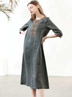 Vintage Green Embroidered O-neck Shift Dress