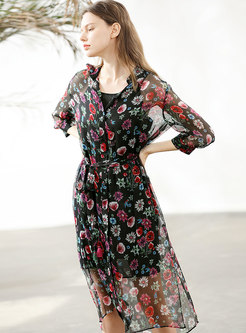 Floral Print Single-breasted Silk Tied Sheath Dress