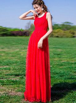 Elegant Mesh Splicing Sleeveless Hem Maxi Dress