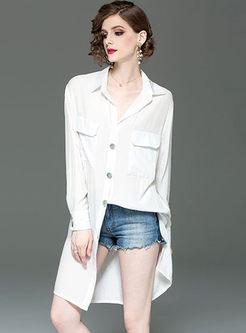 Brief Lapel Single-breasted Loose Shirt Dress