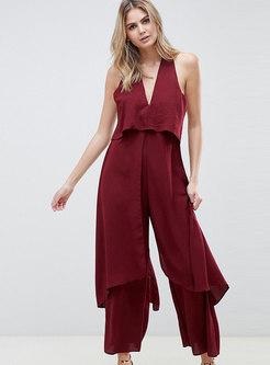 Sexy V-neck Sleeveless Backless Jumpsuit