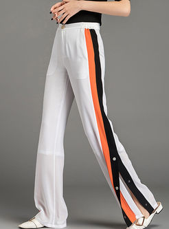 Fashion High Waist Striped Splicing Slit Pants