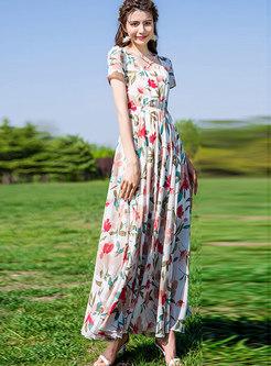 Print Square Neck High Waist Maxi Dress