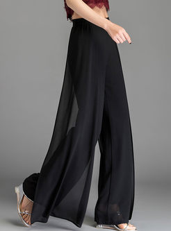 Casual Solid Color Splicing Wide Leg Pants