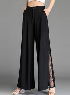 Brief High Waist Chiffon Splicing Lace Pants