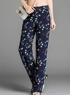 Bohemian Elastic Waist Print Striped Pants
