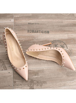 Brief Solid Color Rivet High Heel Shoes